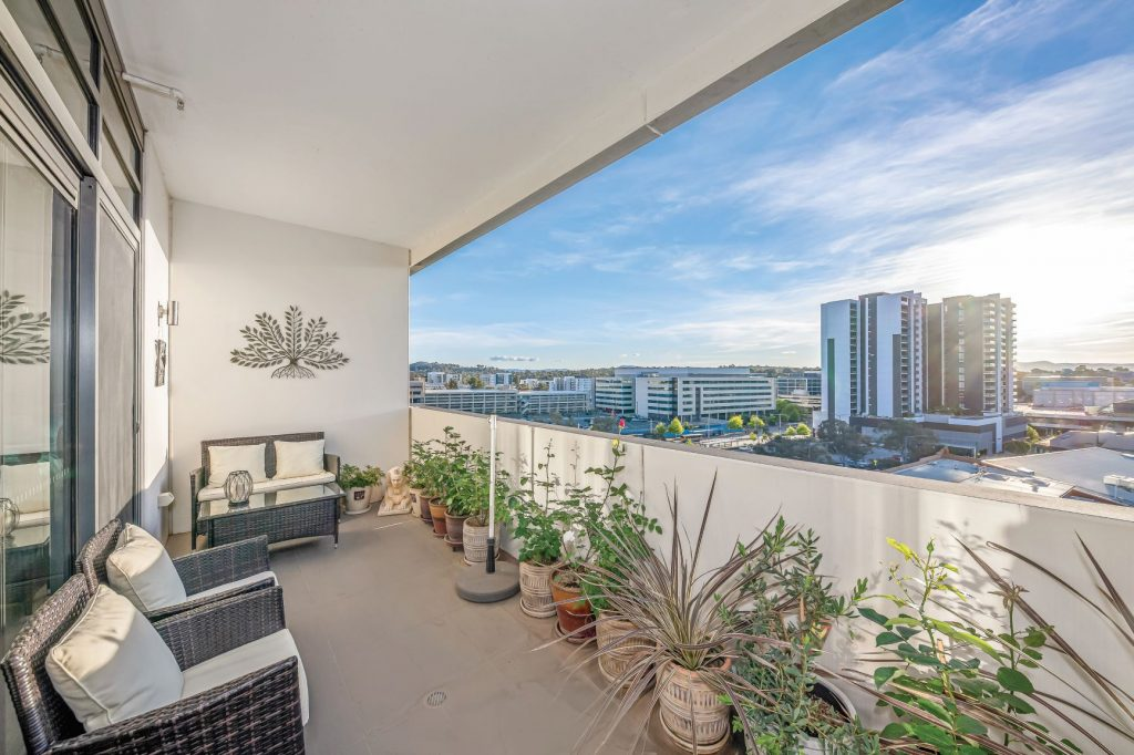 sweeping views of belconnen from the balcony