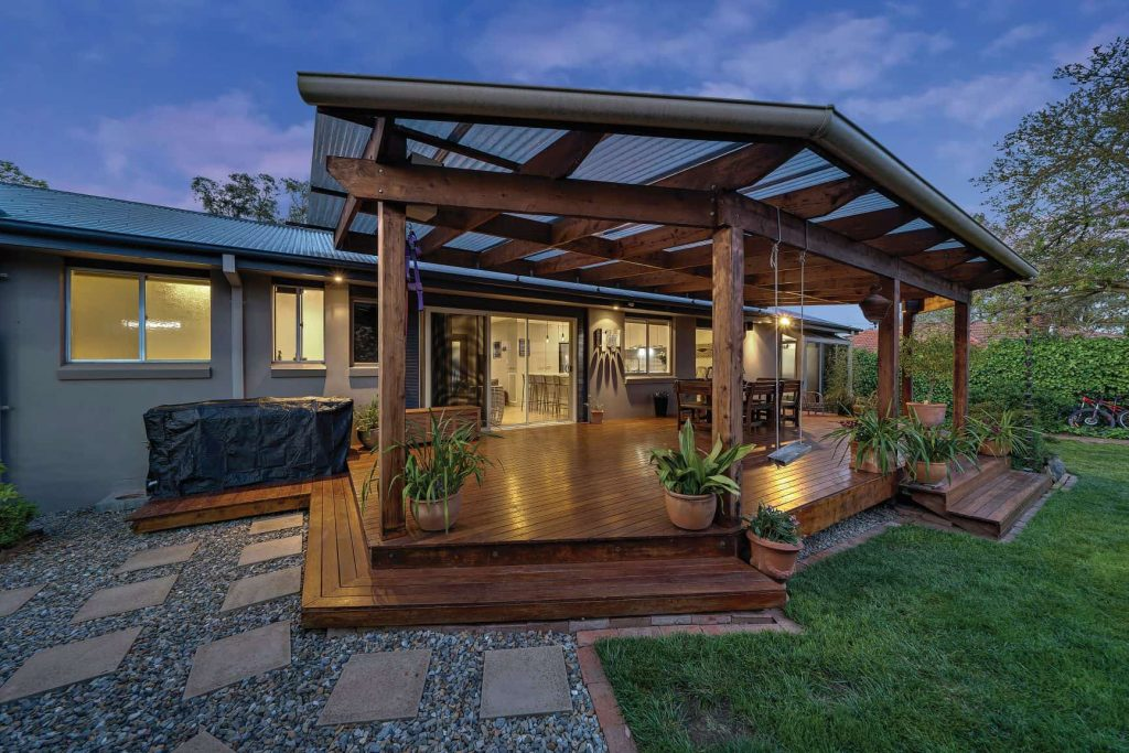 deck of a home at twilight