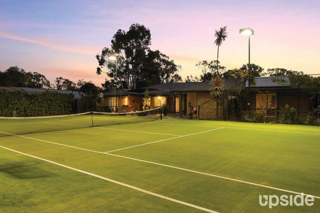 tennis court at dusk