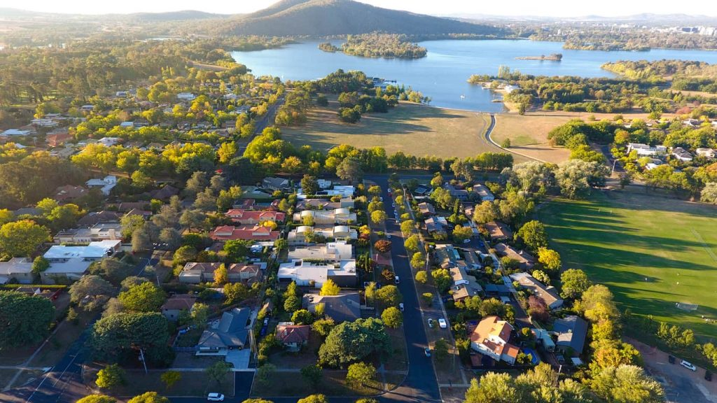aerial shot of canberra